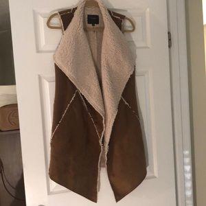 Sanctuary suede faux fur vest combo